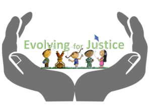 "Children play in front of the words ""Evolving for Justice"" which are within hands cupped like a chalice."