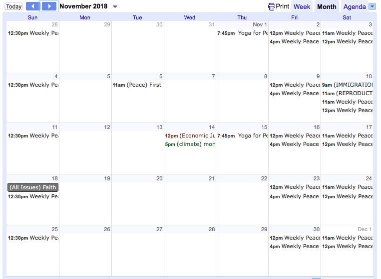 Screen shot of Google Calendar