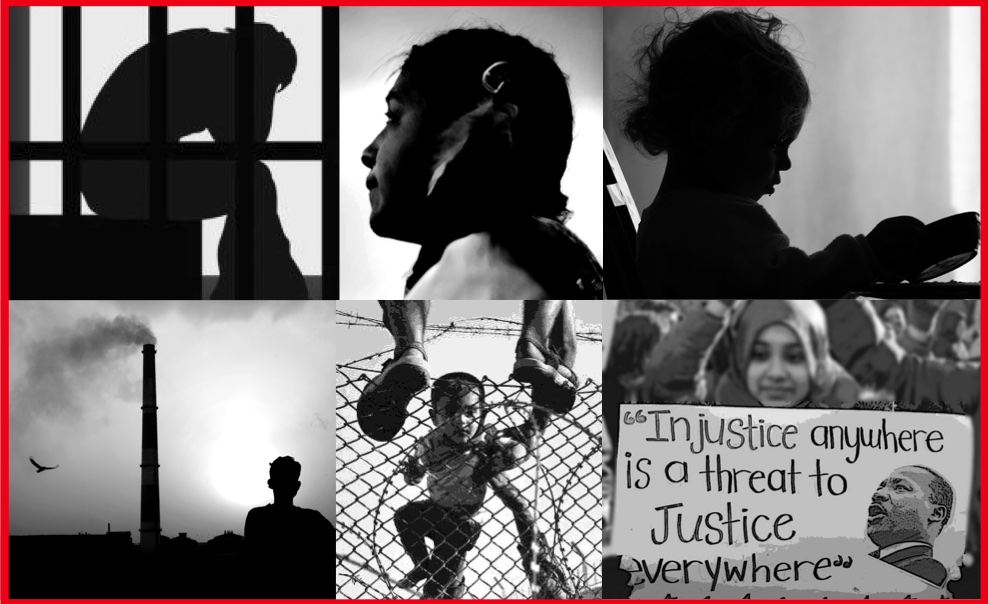 Panel of black and white justice related photos