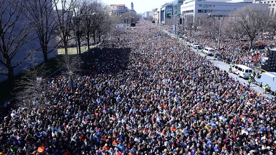 Photo of large gathering of protesters during the March of our Lives Rally, March 2018, Washington, DC