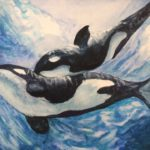 Painting of two Orca whales