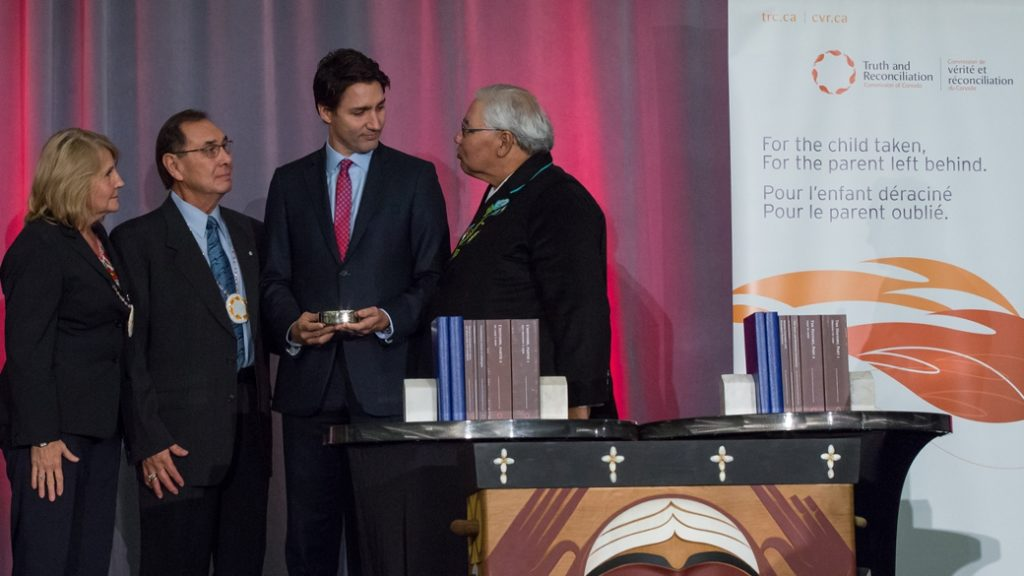 Prime Minister Trudeau attends the release of the final report from the Truth and Reconciliation Commission of Canada in Ottawa. December 15, 2015.