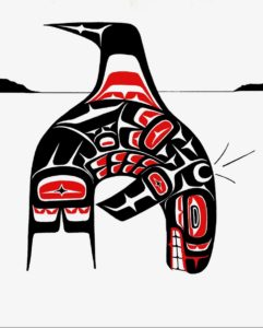 Northwest Tribal design of Orca leading Lummi Nation home after the Great Flood