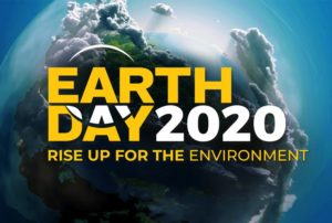 Earth Day 2020 poster with Earth enshrouded in clouds